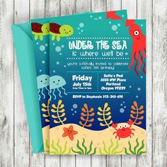 Under the Sea Birthday Invitation Turtle by SweetCelebrationD