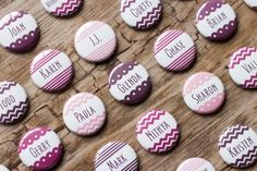 Button Escort Cards, Wedding Name Tags Place Card Pins Personalized Badges Seating Chart Shades of Purple Table Cards Plum Chevron Pink Wedding Name Tags, Wedding Place Cards, Wedding Signs, Wedding Favors, Table Violet, Purple Table, Wedding Table Themes, Wedding Decorations, Cork Place Cards