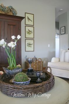 Love the bird prints and the coffee table styling. - Willow Wisp Cottage.