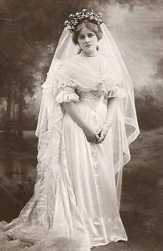 vintage photograph of bride in her wedding dress...