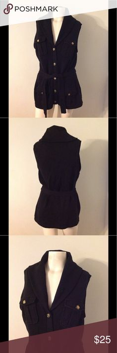 Ralph Lauren Black Shawl Collar Military Sweater L Nice RL sweater. Black button up with pockets and belted. Equestrian style buttons. Size Large. Great condition Lauren Ralph Lauren Sweaters Cardigans