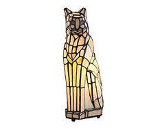 Lampada da tavolo stile Tiffany in vetro e metallo Cat - H 33 cm
