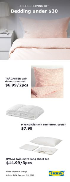 Make the most of your new college space with comfortable and stylish IKEA bedding kits, starting at $30!