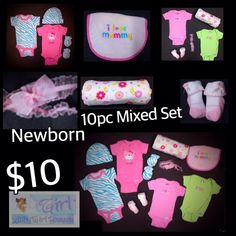 Newborn Baby Girl 10pc Super Cute Mixed Set EUC $10 Buy this product right on Facebook https://admin.shoptab.net/linkbacks/222853691 INCLUDES: Receiving Blanket, 4 Gerber Onesies, Scratch Mitts, Matching Hat, NB Headband, A Pair of Socks & Bib (Bib is Stained). It's a bib...  Everything Else is New EUC.  Only ONE Available in Size Shown! FREE SHIPPING w/purchase of 5/items. CC, Debit & PayPal Welcome. Pick up LOCAL in La Marque