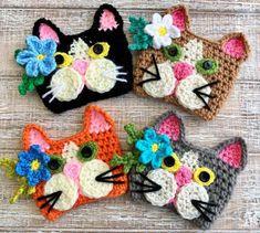 Tuxedo Kitten Crochet Coffee Cup Cozy Pattern, Cat Coffee Tumbler Cozy, Mug Sleeve, Cup Warmer, Cat… Chat Crochet, Crochet Mug Cozy, Crochet Motifs, Crochet Patterns, Crochet Hats, Owl Patterns, Crochet Girls, Crochet Basics, Crochet For Beginners
