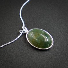Moss agate pendant necklace  moss agate sterling silver