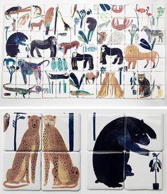 Home Interior Hamptons Animal Tiles By British Designer Laura Carlin Shangri La, Tile Patterns, Interior And Exterior, Tiles, Illustration Art, Artsy, House Design, Wallpaper, Prints