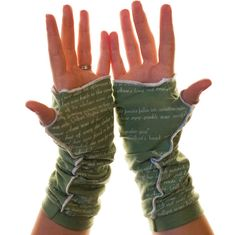 Can't take your hands off of your favorite book? Now you'll never have to! Let everyone know about your great taste in books by adorning your wrists in the words of Anne of Green Gables. These gloves
