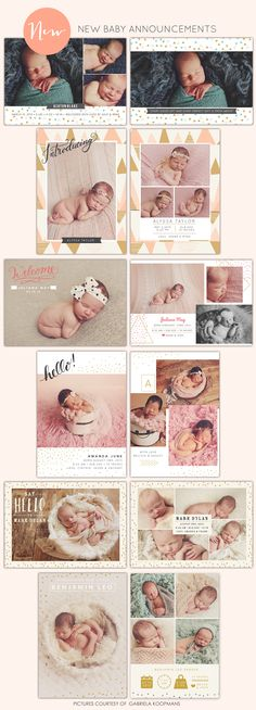 Sweet Birth announcements   Photoshop templates for photographers by Birdesign