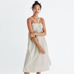 Madewell+-+Convertible+Halter+Dress+in+Chambray+Stripe