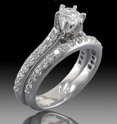 1.25 Cttw Round Diamonds Bridal Set Solitaire with Accents Engagement Ring…