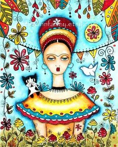 Frida Kahlo Girl Art Print, Whimsical Illustration, Mexican Art, Cat Folk Day of the Dead, Watercolor Mixed Media 8 x Turquoise Blue Frida E Diego, Frida Art, Mary Cassatt, Diego Rivera, Art And Illustration, Henri Matisse, She And Her Cat, Gauguin, Watercolor Mixing