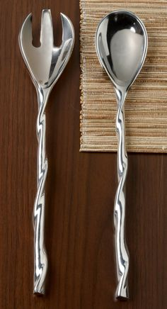 2 Piece Polished Twisted Serving Set