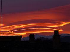 Lenticular clouds over Sierra Nevada,