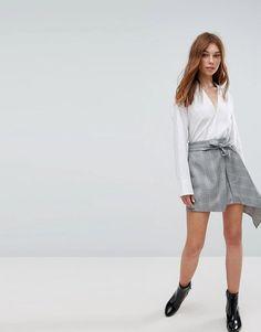 Bershka Heritage Check Asymmetric Skirt - Gray