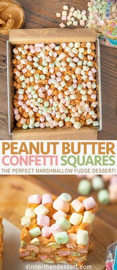 Peanut Butter Confetti Squares - Dinner, then Dessert Peanut butter confetti squares are an easy colorful dessert with fruity marshmallows, peanut butter, and butterscotch chips to make the perfect marshmallow fudge dessert. Marshmallow Fudge, Mini Marshmallows, Toasted Marshmallow, Marshmellow Squares, Colorful Desserts, Fun Desserts, Dessert Recipes, Baking Recipes, Amigurumi