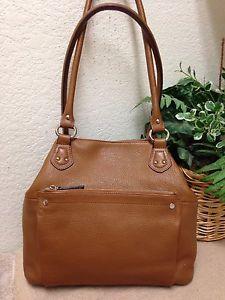 Tignanello Brown Pebble Leather Shoulder Handbag Bag Purse Large Expandable  VGUC