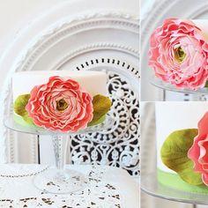 Decorative Pink Sugar Ranunculus Cake Photo