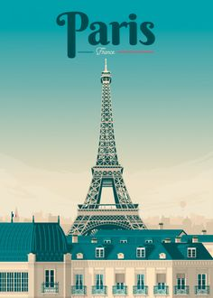 'Vintage Travel Poster France - Paris ' by MarcFugazi Retro Poster, Vintage Travel Posters, Vintage Ski, Poster Poster, Fuchs Illustration, Paris Poster, Tourism Poster, Travel Aesthetic, Paris Travel