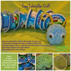 Make an easy caterpillar craft with the kids! Find yogurt coupons at http://www.stonyfield.com/  #StonyfieldBlogger