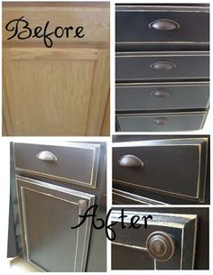 Kitchen cabinet upgrade from oak to painted / distressed look. http://timmonsfamilylemonade.blogspot.com/2010/09/cupboard-makeover-phase-1.html