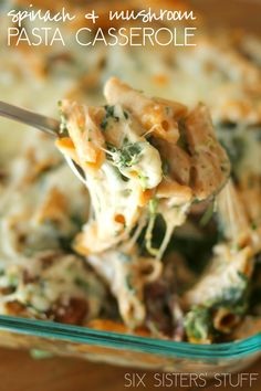 Spinach and Mushroom Pasta Casserole from SixSistersStuff.com!