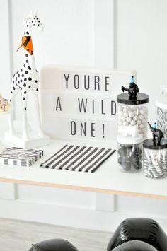 Wild ONE Monochromatic Black and White Jungle Animal 1st Birthday Party by Kara's Party Ideas | KarasPartyIdeas.com