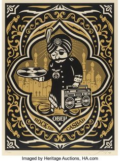 Prints:Contemporary, Shepard Fairey (b. Rock the Casbah, Screenprintin colors. 24 x 18 inches x cm) (sheet). Shepard Fairey Prints, Shepard Fairey Obey, Omg Posters, Rock The Casbah, Obey Art, Kunst Poster, Street Artists, Vinyl Art, Screen Printing