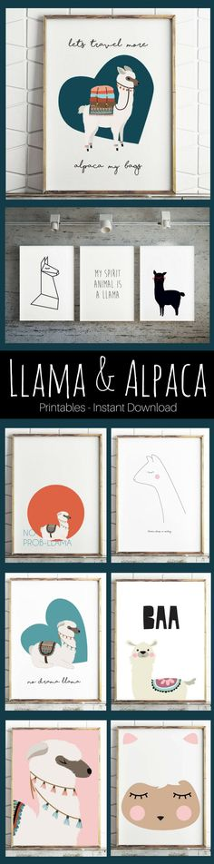 So cute! Llama & Alpaca printables. Instant downloads for wall decor and gallery walls. funny and sweet! #llama #alpaca #printable #ad #etsyseller