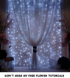 Wedding Backdrop Panels – Reception Decorating Ideas – Christmas idea Strings of mini-lights attached to a rod behind sheer fabric.   Share Gags