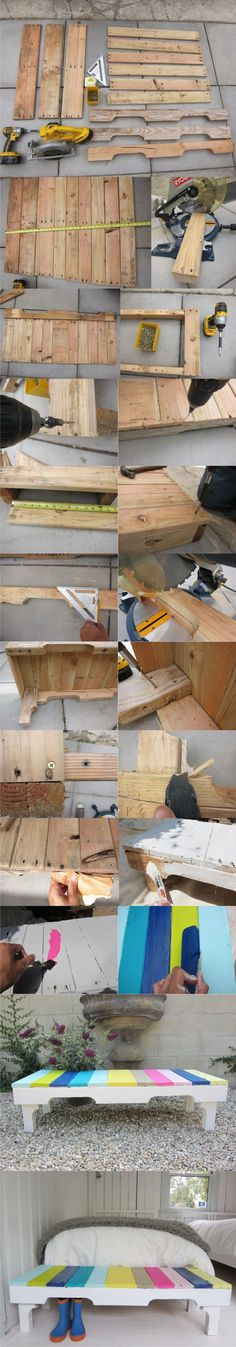 Wood Pallets DIY: Colored Bench From Recycled Pallets - Image: Pallet Crates, Old Pallets, Pallet Art, Wooden Pallets, Pallet Benches, Pallet Wood, Reclaimed Wood Projects, Diy Pallet Projects, Furniture Projects