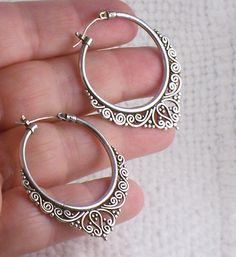 Sterling Silver Jewelry Silver hoop earrings - Characteristics: Metal: sterling silver Alloy: 925 Technique: Author's Style: Boho Manufacturing: days Silver Hoops, Sterling Silver Earrings, Silver Rings, Silver Bracelets, Hammered Silver, Antique Silver, 925 Silver, Piercings, Vintage Jewelry