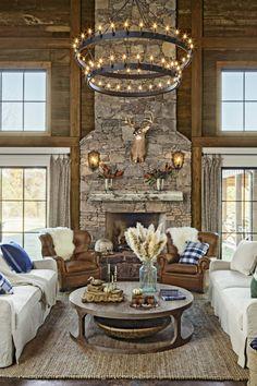 43 Unique Rustic Chandelier Decor Design to Perfect Your Living Room Chandelier In Living Room, Living Room Lighting, Cabin Chandelier, Antler Chandelier, Cabin Lighting, Wagon Wheel Chandelier, Lighting Ideas, Farmhouse Chandelier, Modern Rustic Chandelier