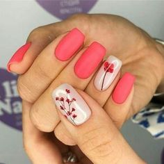 Stylish Spring Flower Nail Art Designs and Ideas 2019 - Jessica - Nails Desing Flower Nail Designs, Cute Nail Art Designs, Flower Nail Art, Nail Designs Spring, Acrylic Nail Designs, Acrylic Nails, Coral Nail Designs, Coral Nails With Design, Acrylic Colors