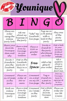 Younique Bingo Online Party Game | Dannies Younique Cosmetics | Pinterest | Discover Best Ideas ...