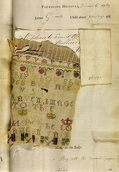Fromn Jen Bradford's blog:  images of fabric scraps and identifying markers left with foundling babies.