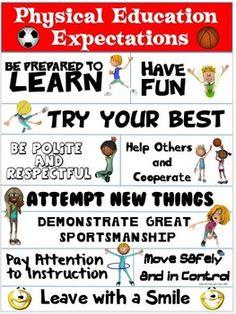 PE POSTER: PHYSICAL EDUCATION EXPECTATIONS - TeachersPayTeachers.com