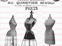Vintage Paris Laden Shabby   Bügelbild  A4