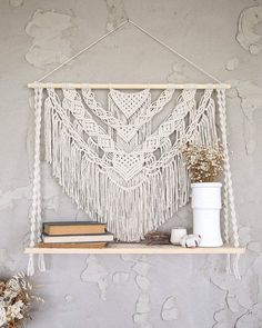 Excited to share this item from my shop: Large Macrame hanging shelf, crochet rope floating shelf Boho rustic decorative wall shelf Wooden plant shelf Wall organizers books storage Wall Hanging Shelves, Macrame Wall Hanging Patterns, Wall Shelf Decor, Large Macrame Wall Hanging, Macrame Art, Macrame Design, Wall Hangings, Macrame Wall Hanger, Macrame Projects