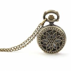 Dial Window Material: GlassMovement: Quartz WatchDial Display: AnalogCase Shape: RoundChain Material: AlloyCase Size: App Length: App I Shop Till You Drop, Pocket Watch, Jewelry Watches, Quartz, Carving, Bronze, Unisex, Flowers