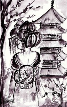 Inktober Day Japanese Geisha and Pagoda. Japanese Pagoda, Japanese Geisha, Geisha Japan, Japanese Art, Dragon Tattoo Full Back, Powerpuff Girls Wallpaper, Japanese Tattoo Art, Japan Tattoo, Samurai Tattoo