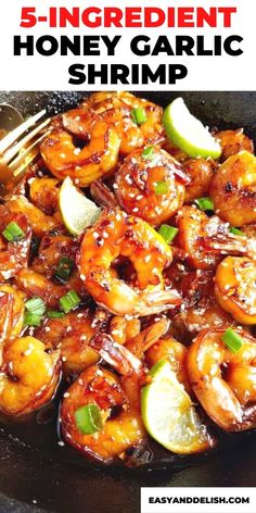 Make this shrimp skillet meal with only 5 ingredients. It is quick, easy and so darn delish recipe! Prepare this healthy skillet recipe for dinner or lunch. Get the recipe here or save this pin for later.   #shrimprecipe #quickrecipe #easyrecipe #easydinnerecipe #keto #skillet #skilletrecipes #dinner Keto Shrimp Recipes, Honey Recipes, Crockpot Recipes, Healthy Eating Recipes, Vegan Recipes Easy, Healthy Food, Easy Family Meals, Easy Meals, Family Recipes
