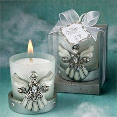Angel theme candle holder party favors.