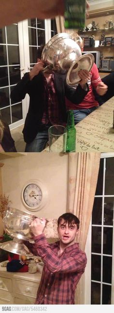 Harry Potter (Daniel Radcliffe) drinking from a goblet