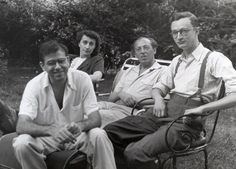 Aaron Copland kickin it in the backyard with some friends.