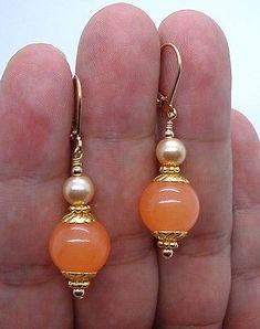 Bold Orange Jade W. FWP Champagne South Seashell Pearls Gold Earrings A0712