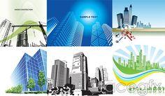 Construction theme vector glass facades