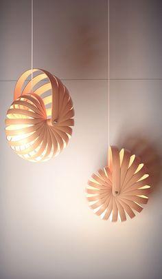 — By Nigel Schütte: nautilus shell lamp - Old Lamp Shades, Hanging Lamp Shade, Light Art, Lamp Light, Cool Lighting, Lighting Design, Origami Lights, Laser Cut Lamps, Diy Luminaire