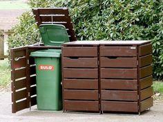 3er Mülltonnenbox Holz, Deckend Geölt Dunkelbraun, für 120 L + 240 L Mülltonnen