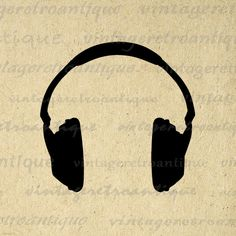 Headphones Silhouette Music Digital Printable Download Image Graphic Antique Clip Art. Vintage printable image download for transfers, printing, pillows, t-shirts, tea towels, and more great uses. For personal or commercial use. This graphic is high quality at 8½ x 11 inches large. Transparent background version included with every graphic.